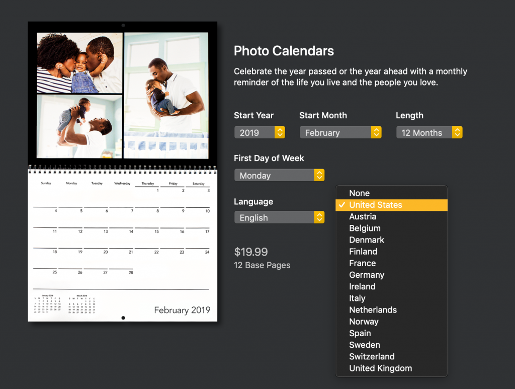 Editing a custom Motif calendar by country | Motif