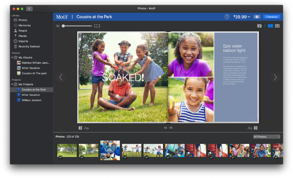 A custom photo book with cousins playing at the park   Motif