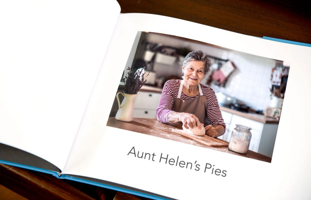 "A recipe book with a page for ""Aunt Helen's Pies"" 