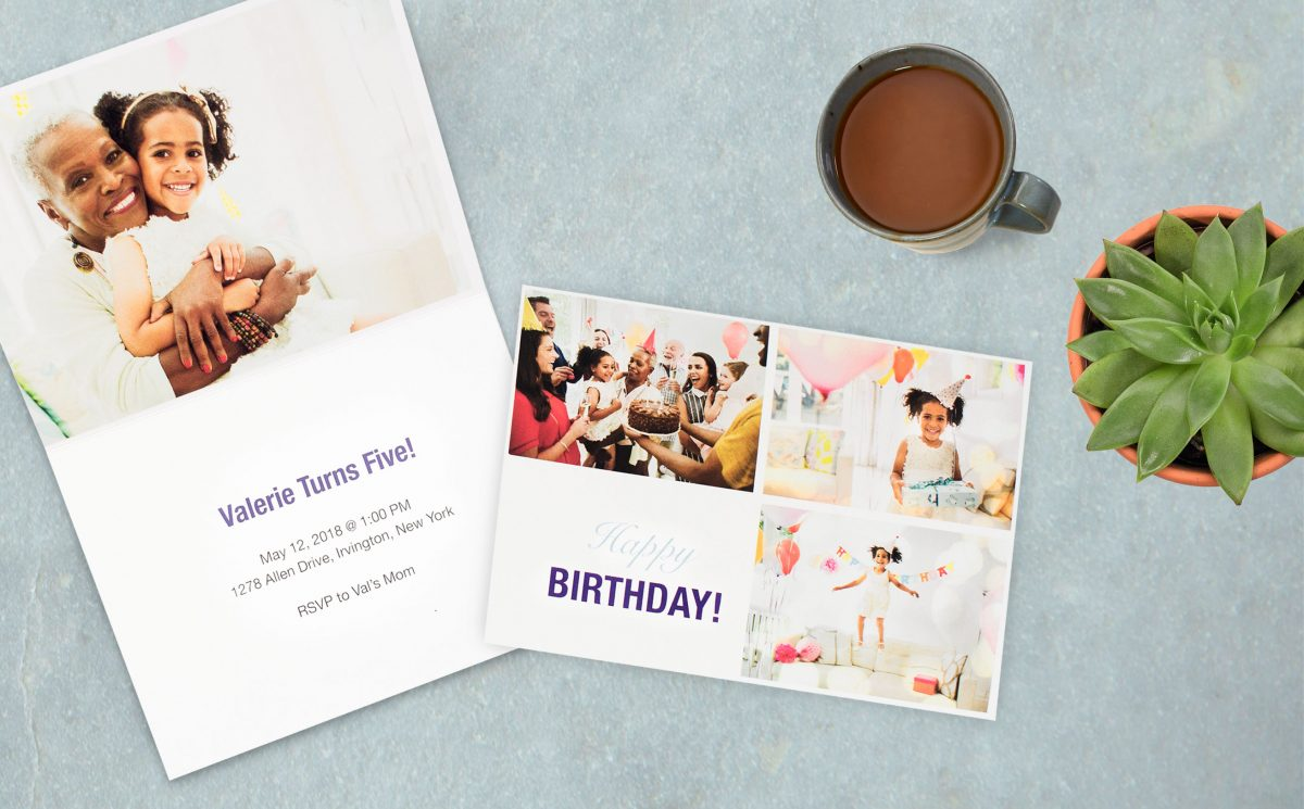 Custom birthday party invitations next to a plant and cup of coffee | Motif