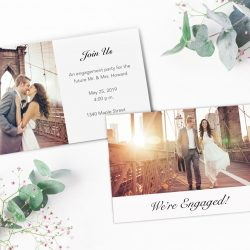 A custom engagement announcement with a couple on the Brooklyn Bridge | Motif