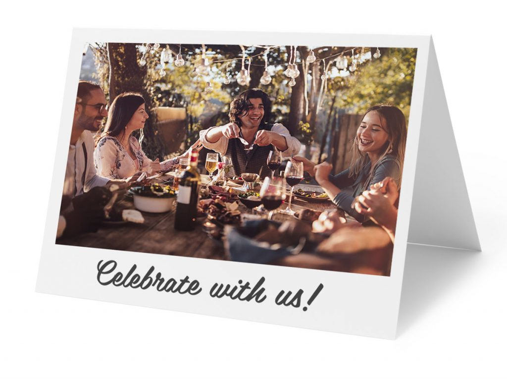 A custom birthday card with a group of people at a barbeque | Motif