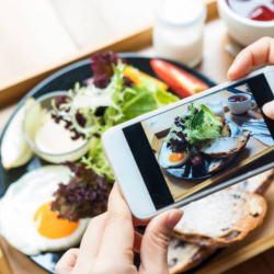 Taking a picture of a plate of food on a cell phone | Motif