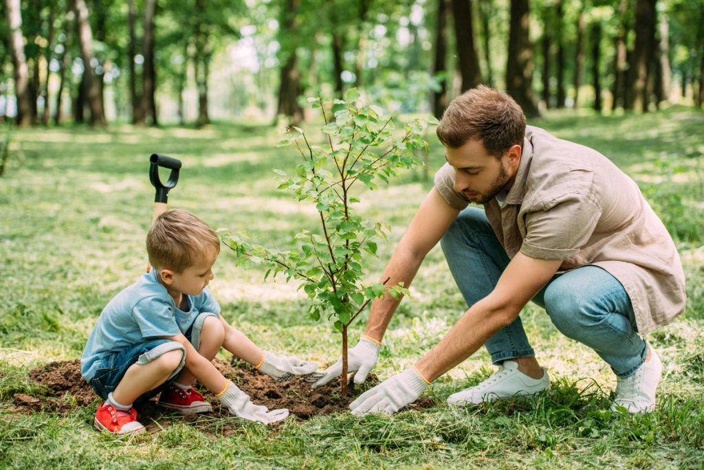 Father and son planting a tree for Earth Day