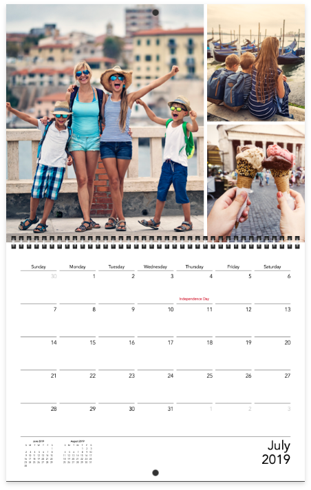 A family calendar with pictures of the whole family and touching ice cream cones | Motif