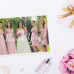 A Thank You Card with the bridal party on it and other gifts | Motif