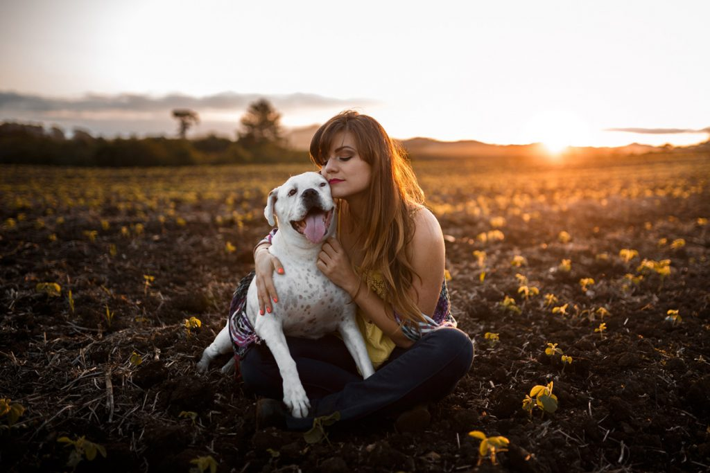 A girl and her dog sitting in a field at sunset | Motif
