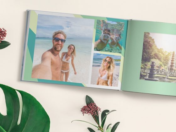 A custom honeymoon photo book of a couple at a tropical beach | Motif