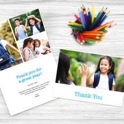 Two school photo cards next to a cup of colored pencils | Motif