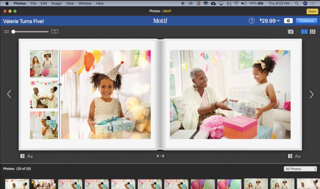 Click the blue line that appears to resize photos