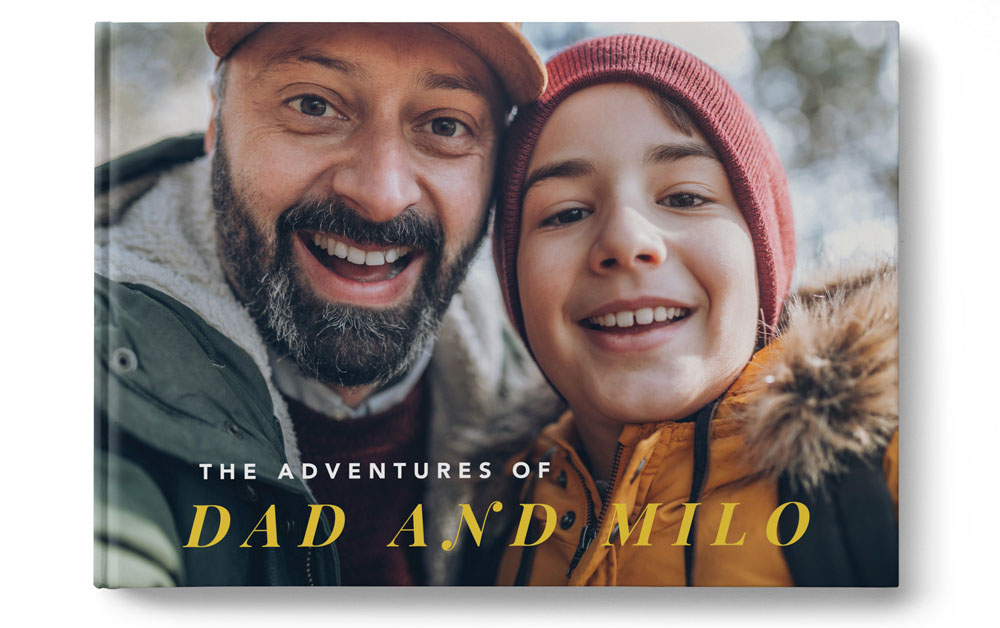 A custom Father's Day photo book with a father and his child on the cover | Motif