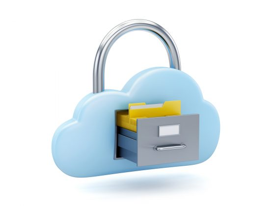Cloud padlock as filing cabinet with manila folder