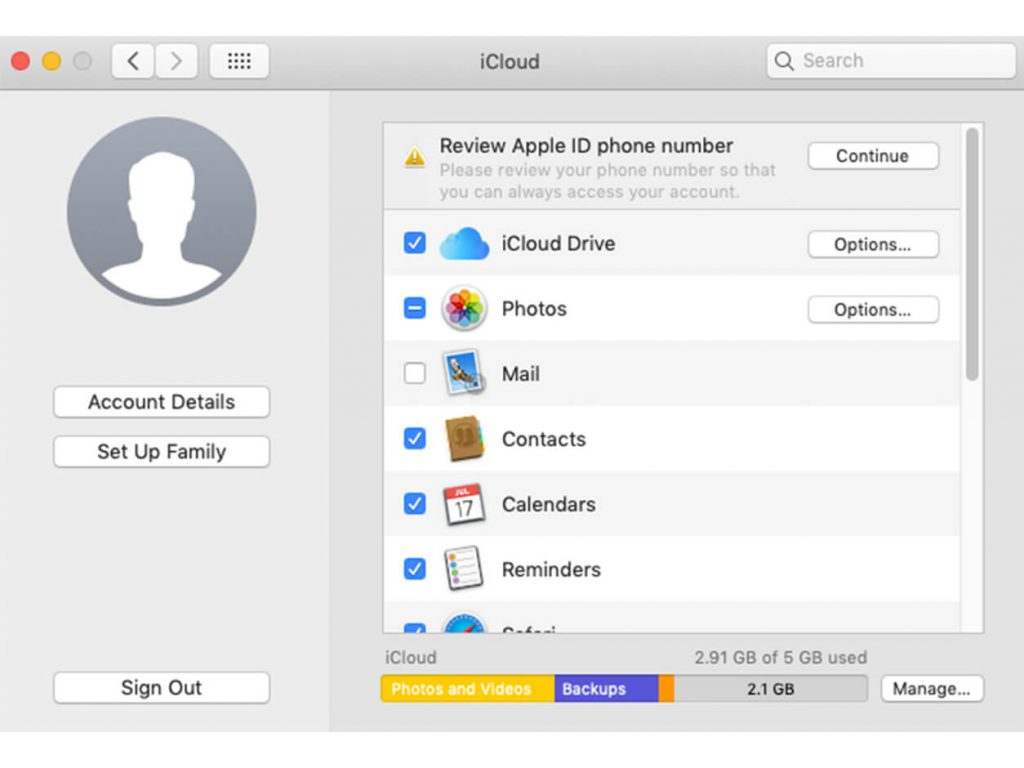 Disable iCloud on a Mac
