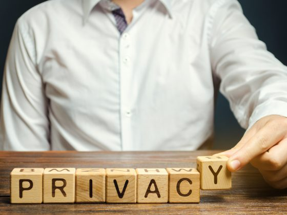 """Writing """"privacy"""" out of wooden blocks."""