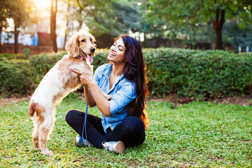 A beautiful woman and her cocker spaniel look relaxed and having fun in this great pet photo.