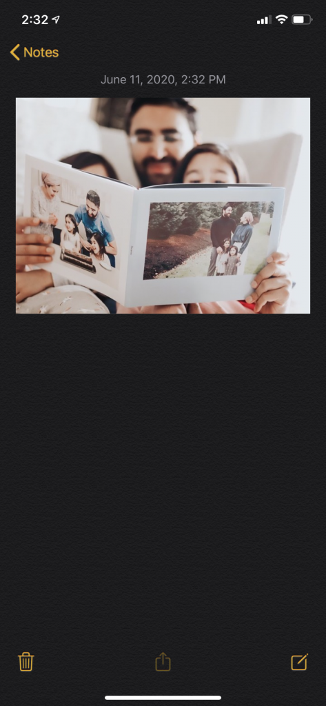 Pasting your Instagram image in your Notes app.