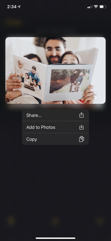 Adding your image to the Photos app.