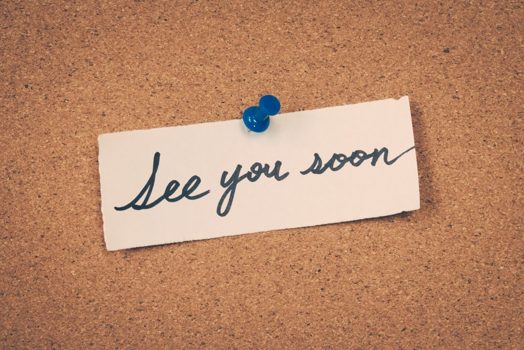 "A simple ""see you soon"" message is a great signoff for your customized thinking of you card."