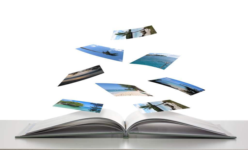 Beach photos float above empty photo book design, ready to be laid out with color.