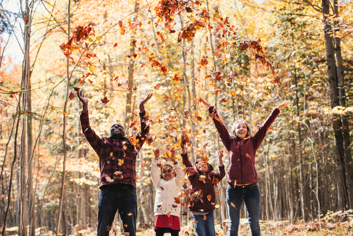 Mom, Dad and two kids tossing leaves is the perfect idea for a Thanksgiving photo card.