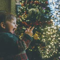 Christmas picture ideas: young boy very excited seeing christmas tree
