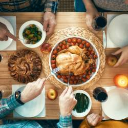 Of all Thanksgiving pictures, be sure to take an overhead shot of turkey and sides on the table.