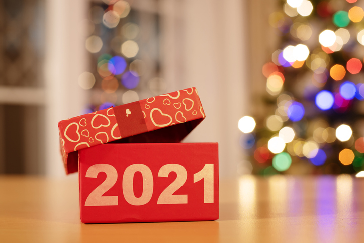 2021 written a gift box tied with red ribbon