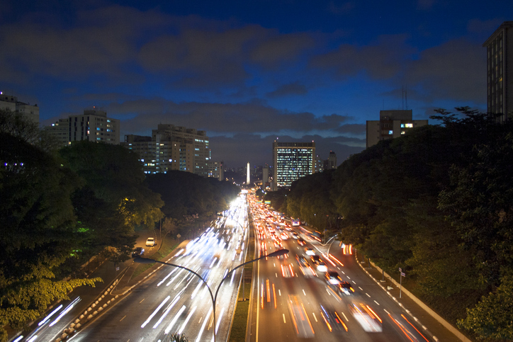 Slow shutter speed abilities include capturing traffic trails on the highway.
