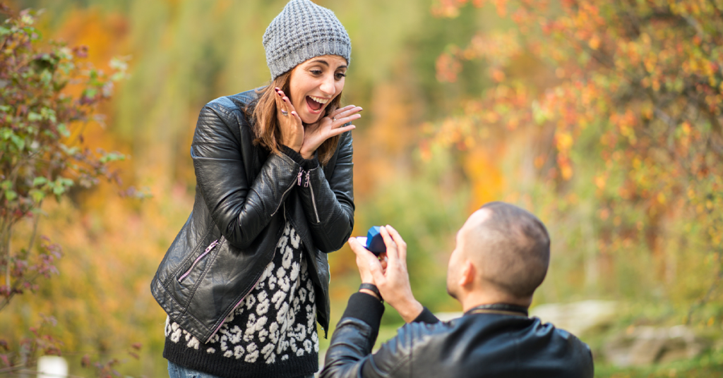 Recreate the big moment when posing for engagement photography.