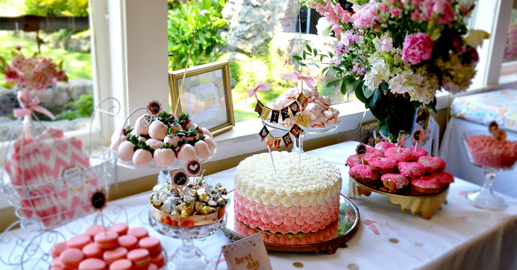 Photograph the setting of the baby shower to capture all the details of the celebration.
