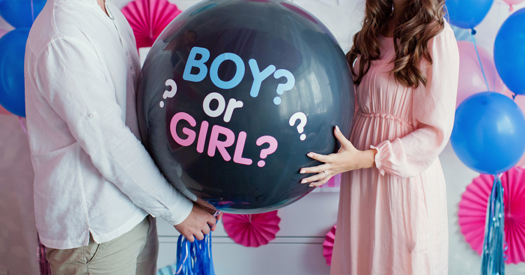 "A gender-reveal photo book highlights the surprise of ""boy or girl."""