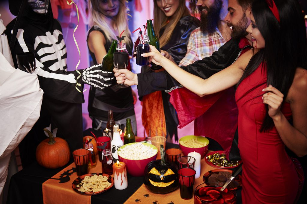 Cheers at a Halloween party