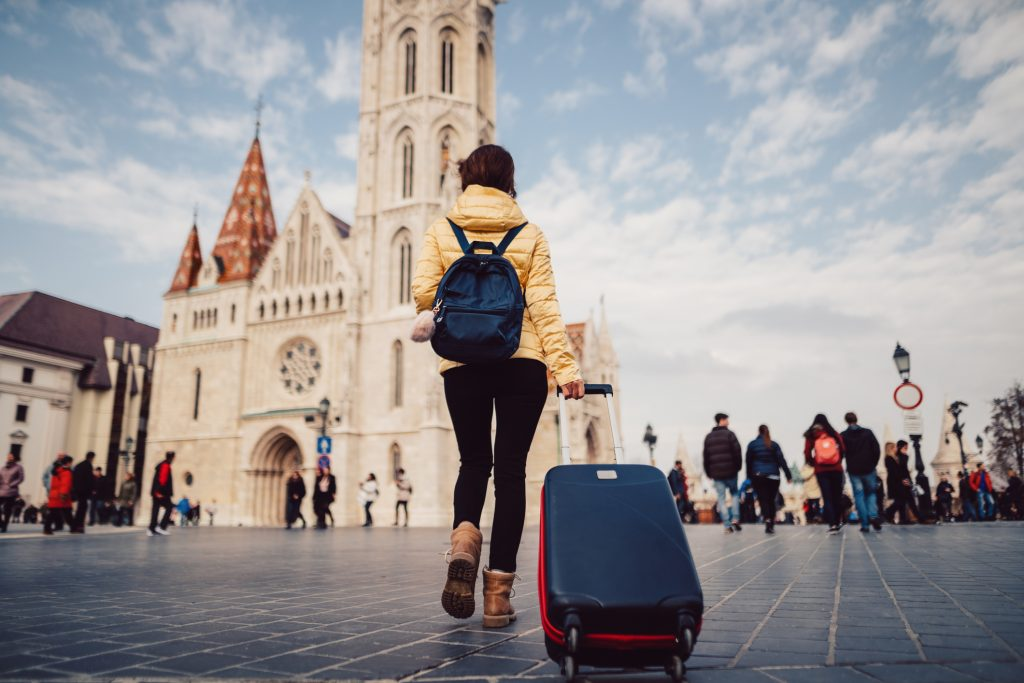 Tourist woman traveling solo in Budapest