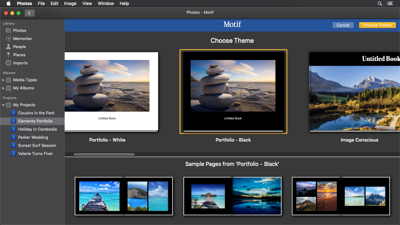 The theme selection page of the Motif app | Motif