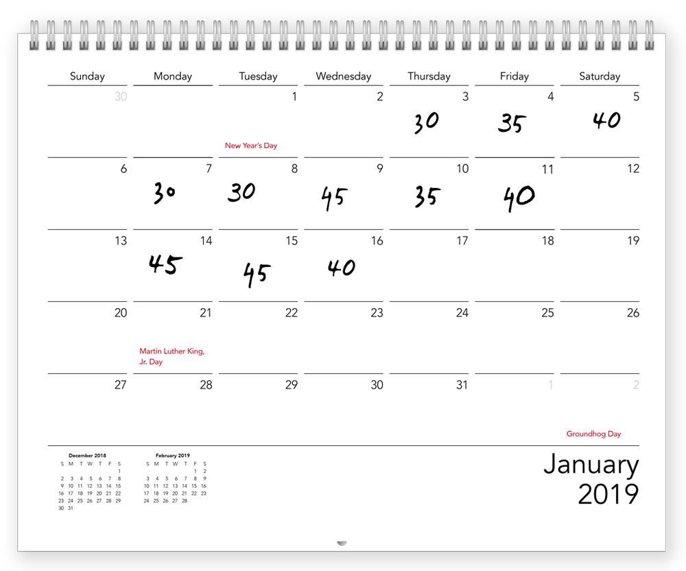 A custom calendar with the number of minutes someone worked out for the day   Motif