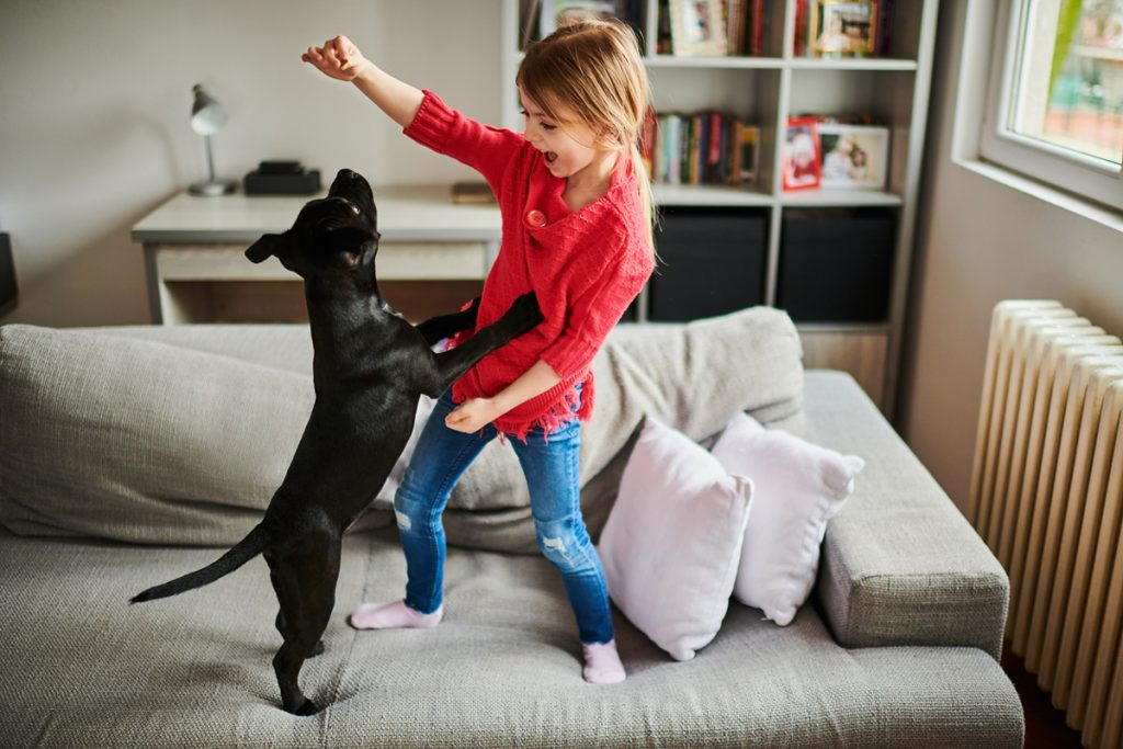 A little girl playing with a black puppy on the couch | Motif